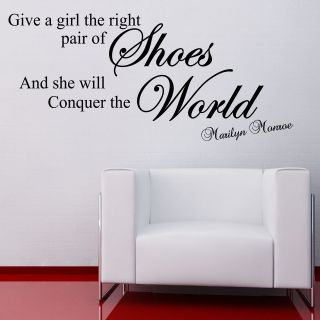THE RIGHT PAIR OF SHOES MARILYN MONROE WALL STICKER QUOTE DECAL ART