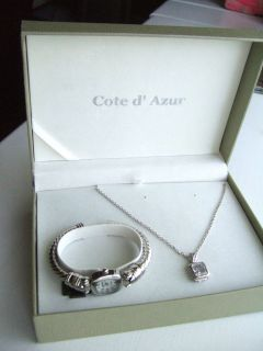 Cote d Azur Silver Jewelry Set Necklace with Stone and Watch