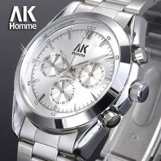 stainless steel army military Day Date Mechanical Mens Wrist Watch