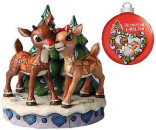 NIB Jim Shore Rudolph Reindeer and Clarice Figurine w. FREE Lapel Pin
