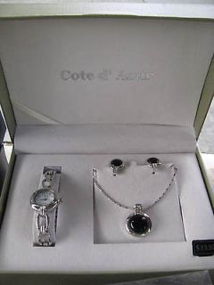 Cote D Azur Womans Jewelry Set with Watch, Necklace, and Matching