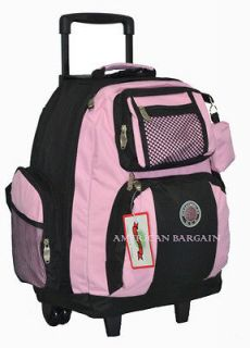 Transworld Pink 18 Rolling Wheeled Backpack Book Bag (12 colors)
