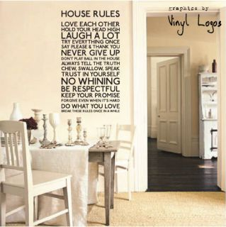 HOUSE RULES KITCHEN ART MURAL STENCIL WALL STICKER TRANSFER VINYL