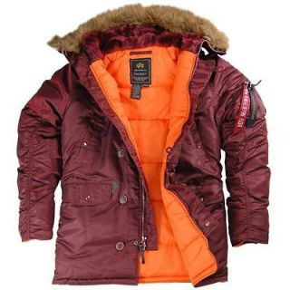 Alpha Industries Slim Fit N 3B Parka   Black, Brown, Maroon, Sage