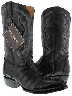 MENS BLACK GENUINE CROCODILE ALLIGATOR TAIL CUT COWBOY BOOTS WESTERN