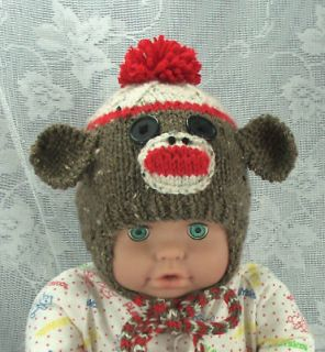 Sock Monkey Handmade Knit Baby Ear Flap Hat Newborn to 3mo.