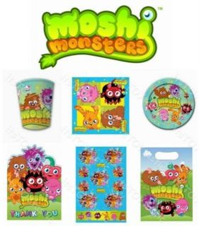 MOSHI MONSTERS Kids Birthday Party items tableware Balloons Invites