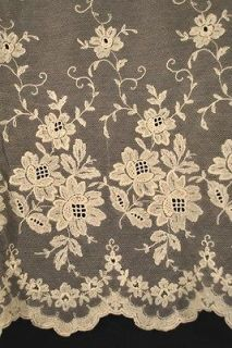 20thC PAIR EMBROIDERED FRENCH NET LACE CURTAIN PANELS 79 1/2 x 66