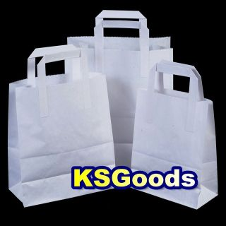 WHITE FLAT HANDLES SOS TAKE AWAY PARTY PAPER BAGS LUNCH FOOD TAKEAWAY