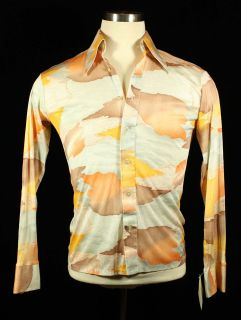 Cloud Landscape Print Vtg 1970s Mens Shirt Size M   Disco Retro