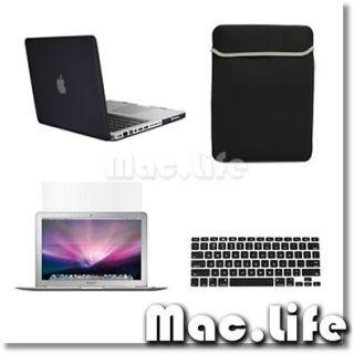 4in1 Rubberized BLACK Case for Macbook PRO 13 + Keyboard Cover +LCD