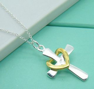 Gift Solid Silver 18K GP Heart Cross Pendant Chain Necklace +Box XL74