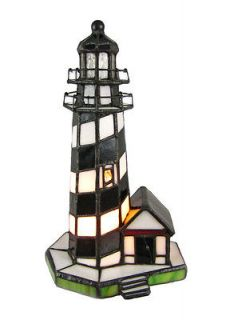 Black and White Stained Glass Lighthouse Accent Lamp