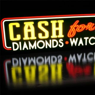 BRIGHT We Buy Gold, Diamonds, Silver & Watches light Box Sign Neon Alt