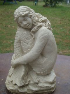 RESTING SITTING MYSTICAL MERMAID WHITE CONCRETE GARDEN STATUE GREAT