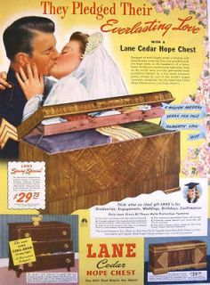 1942 WWII LANE CEDAR HOPE CHEST   MARINE WEDDING PRINT AD!