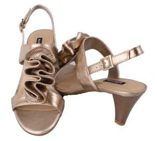 Alex Marie Frisky Womens Gold Fusion Leather Slingback Heeled Sandals