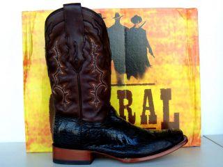 Corral Mens Black/Bronze Ostrich Leg Cowboy Boots