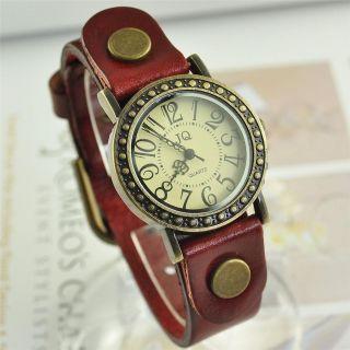 Vintage Ladies Womens Genuine Leather Band Cuff Hemp Bracelet Bangle