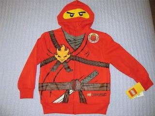 New Lego Ninjago Red Ninja Kai Minifigure Hoodie Size 14 Large Boys