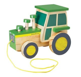 NEW John Deere Wooden Pull n Pop Tractor, Up and Down Popping Action