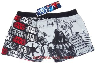 BNWT MENS STAR WARS BOXER SHORT TRUNKS SIZE S M L XL OFFICIAL BLK/GREY