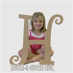 Unfinished Wooden Letters (H) 24 Wall Decor Paintable Wood Letter