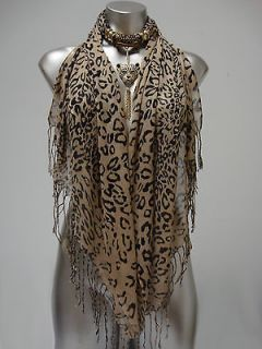 Leopard Print Tasseled Jewelry Scarf Wrap Rhinestone Leopard Pendant