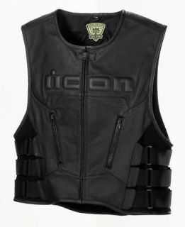 Icon Regulator Leather Motorcycle Vest Stealth Large/X Large