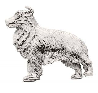 Border Collie Silver Dog Charm Refrigerator Magnet Figurine