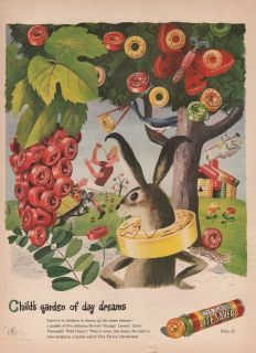 1945 VINTAGE LIFE SAVERS CHILDS GARDEN OF DAY DREAMS CANDY PRINT AD