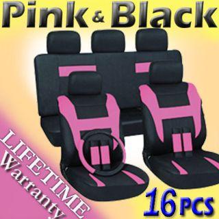 16pc Set Pink Black Auto Car Seat Covers FREE Steering Wheel Belt Pad