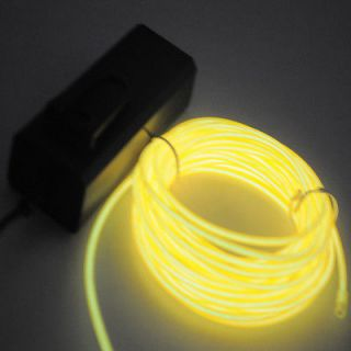 3M Flexible Neon Light Glow EL Wire Rope Tube Car Dance Party Yellow