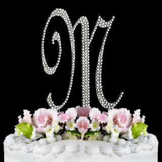 Monogram Cake Toppers Completely Covered Crystal Silver Initial Letter