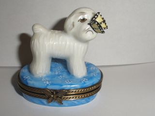 LIMOGES BOX BIJON DOG LIMITED EDITION /500 PORCELAIN TRINKET BOX