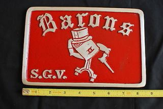 Barons SGV Car Club Plaque Drag Plate License Plate Topper