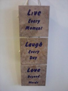 PIECE of 5 x 5 HANGING LIVE LAUGH LOVE CERAMIC PLAQUE