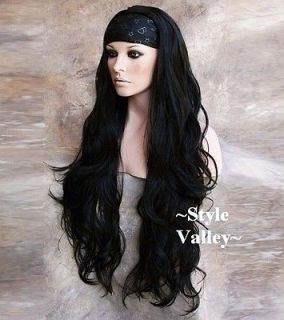 Elegantly Long BLACK 3/4 Fall WAVY Hair Piece Half wig Extra long