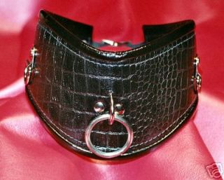 Posture Collar, Black Leather, Lined, with Patent Leather Trim Posture