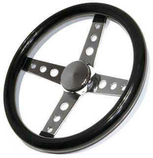 VTG STYLE BLACK 4 SPOKE STEERING WHEEL RAT HOT ROD CUSTOM GASSER