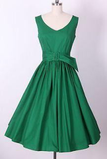 50s Audrey Hepburn Style Little Green Dress Size M Pinup Vintage