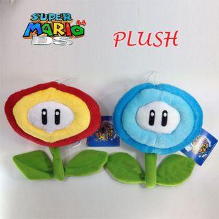 2X Super Mario Bros Plush Ice Flower & Fire Flower Soft Toy Doll