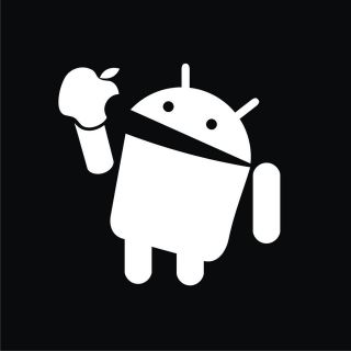 Android Eats Apple *NEW* Funney T Shirt Black ALL SIZES
