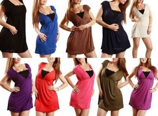 deep V neck low cut Cleavage summer Beach pool Basic Mini Dress Tunic