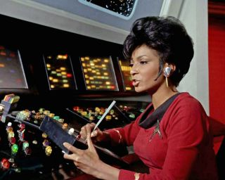 Nichelle Nichols as Uhura Working on a Log in The Omega Glory