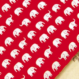 FQ   LITTLE WHITE ELEPHANT CARTOON in RED JAPANESE ASIAN 100% COTTON