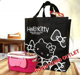 Hello Kitty Bento Lunch Box Bag Sanrio Black C49e