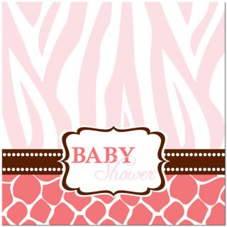 16 Wild Safari Pink Zebra Baby Shower Lunch Napkins