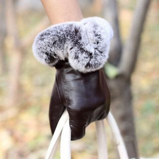 New winter warm real sheep leather with thick rabbit fur gloves(two