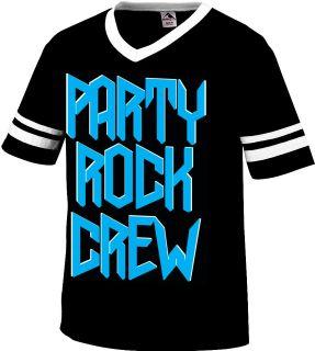 Party Rock Crew Mens V Neck Ringer T Shirt LMFAO Music Songs Lyrics